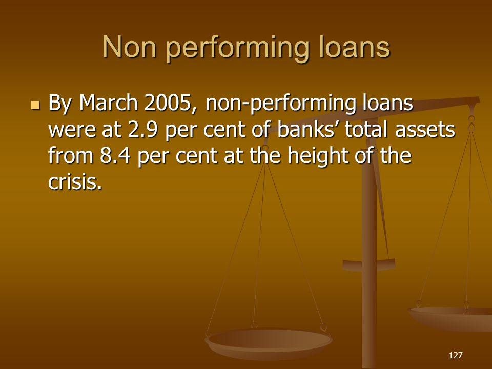 Non performing loans By March 2005, non-performing loans were at 2.9 per cent of banks total assets from 8.4 per cent at the height of the crisis. By
