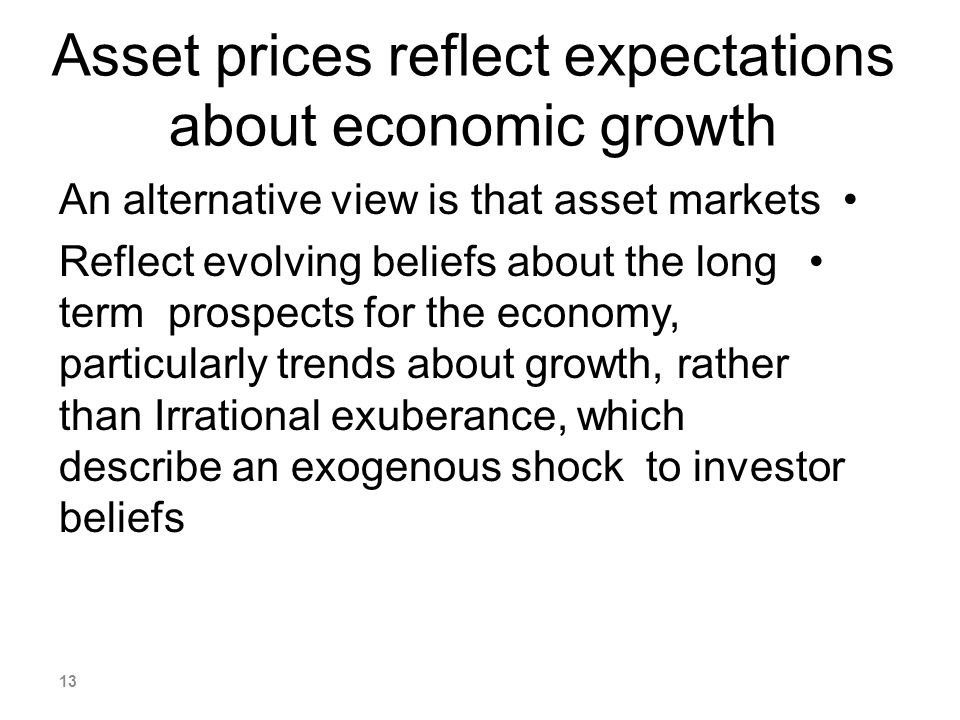 Asset prices reflect expectations about economic growth An alternative view is that asset markets Reflect evolving beliefs about the long term prospec