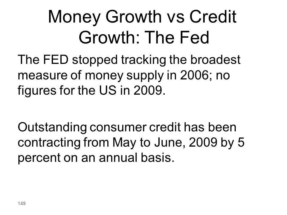 Money Growth vs Credit Growth: The Fed The FED stopped tracking the broadest measure of money supply in 2006; no figures for the US in 2009. Outstandi