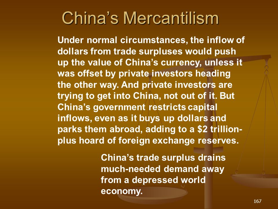 Chinas Mercantilism 167 Chinas trade surplus drains much-needed demand away from a depressed world economy. Under normal circumstances, the inflow of