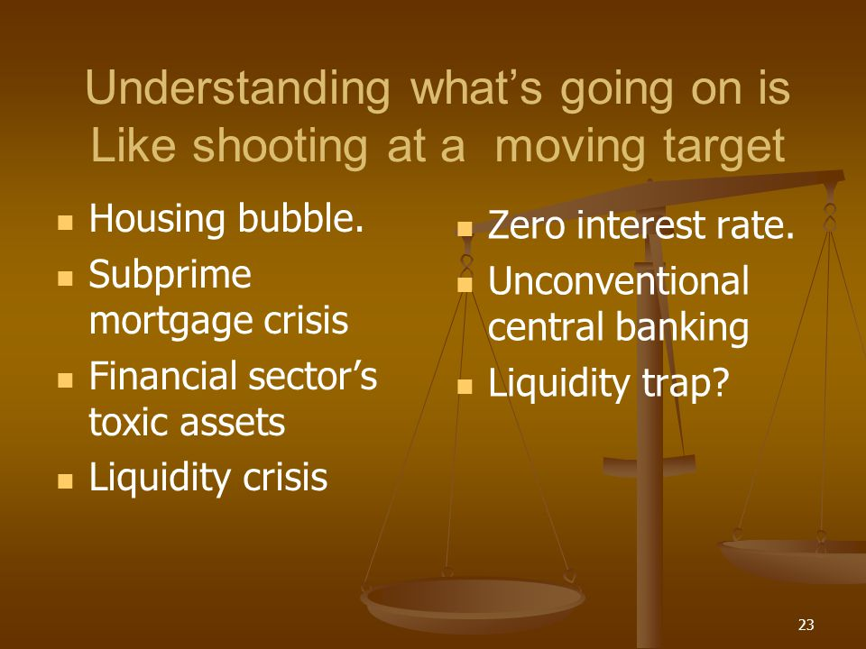 Understanding whats going on is Like shooting at a moving target Housing bubble. Subprime mortgage crisis Financial sectors toxic assets Liquidity cri