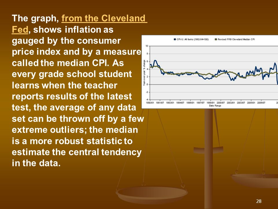 The graph, from the Cleveland Fed, shows inflation as gauged by the consumer price index and by a measure called the median CPI. As every grade school