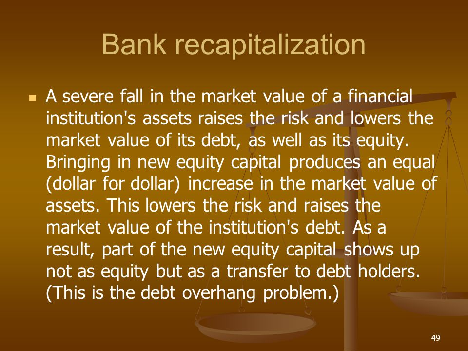 Bank recapitalization A severe fall in the market value of a financial institution's assets raises the risk and lowers the market value of its debt, a