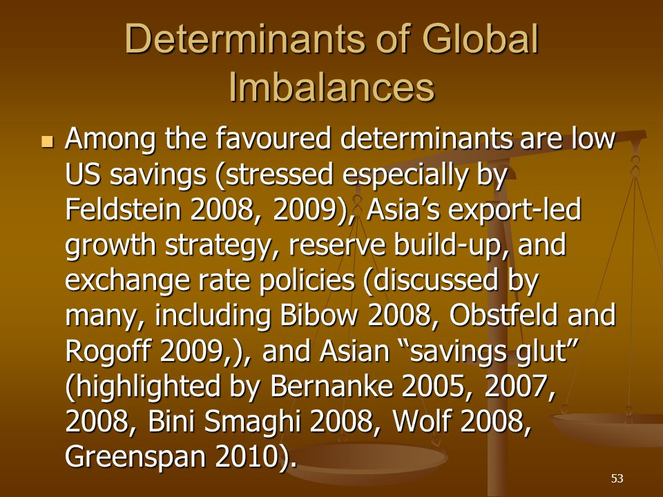 Determinants of Global Imbalances Among the favoured determinants are low US savings (stressed especially by Feldstein 2008, 2009), Asias export-led g