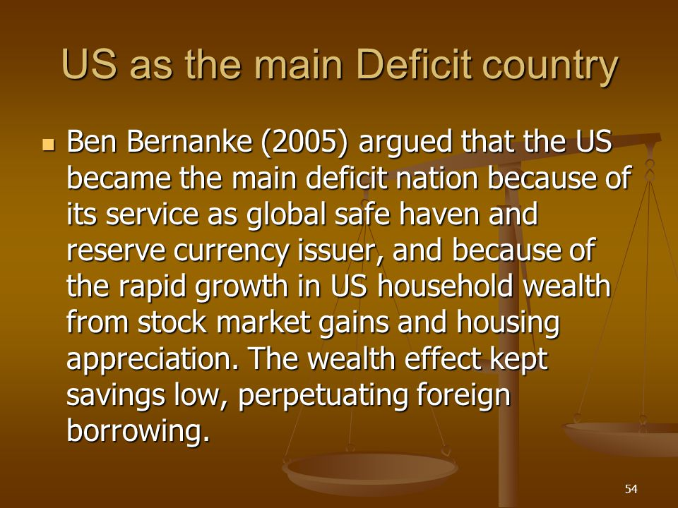 US as the main Deficit country Ben Bernanke (2005) argued that the US became the main deficit nation because of its service as global safe haven and r