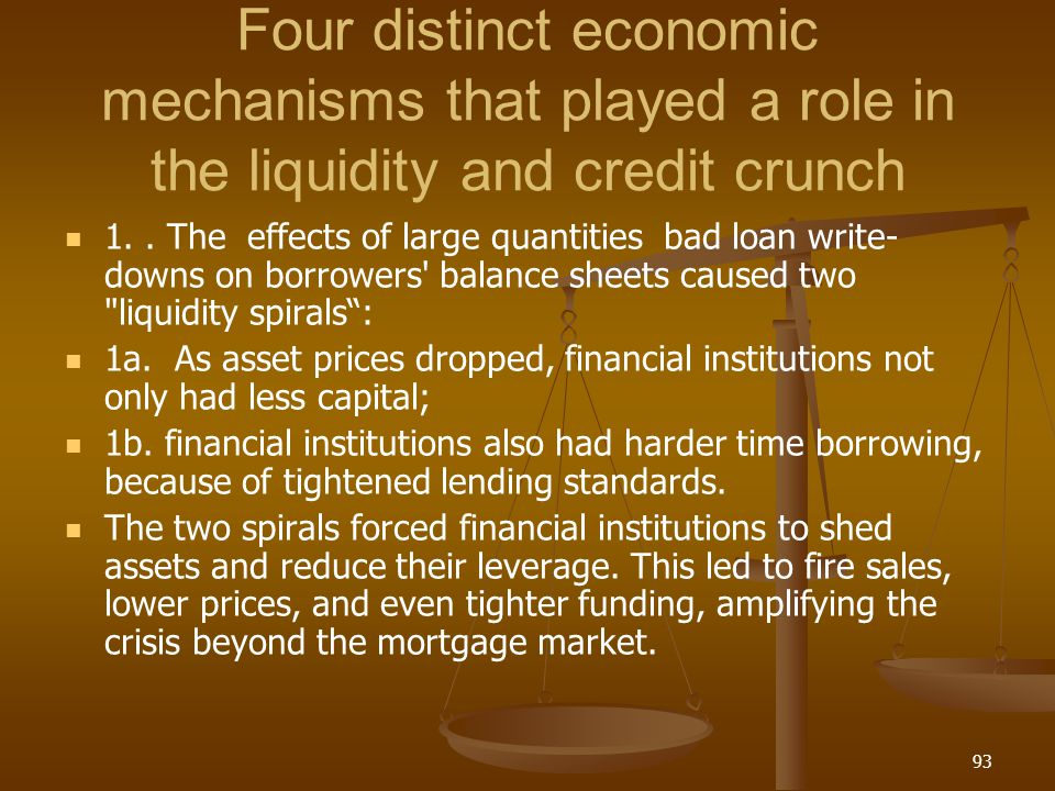 Four distinct economic mechanisms that played a role in the liquidity and credit crunch 1.. The effects of large quantities bad loan write- downs on b