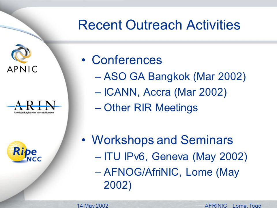 14 May 2002AFRINICLome, Togo Recent Outreach Activities Conferences –ASO GA Bangkok (Mar 2002) –ICANN, Accra (Mar 2002) –Other RIR Meetings Workshops and Seminars –ITU IPv6, Geneva (May 2002) –AFNOG/AfriNIC, Lome (May 2002)