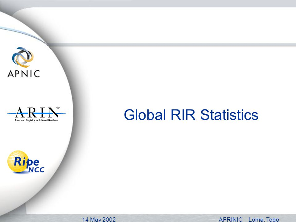 14 May 2002AFRINICLome, Togo Global RIR Statistics