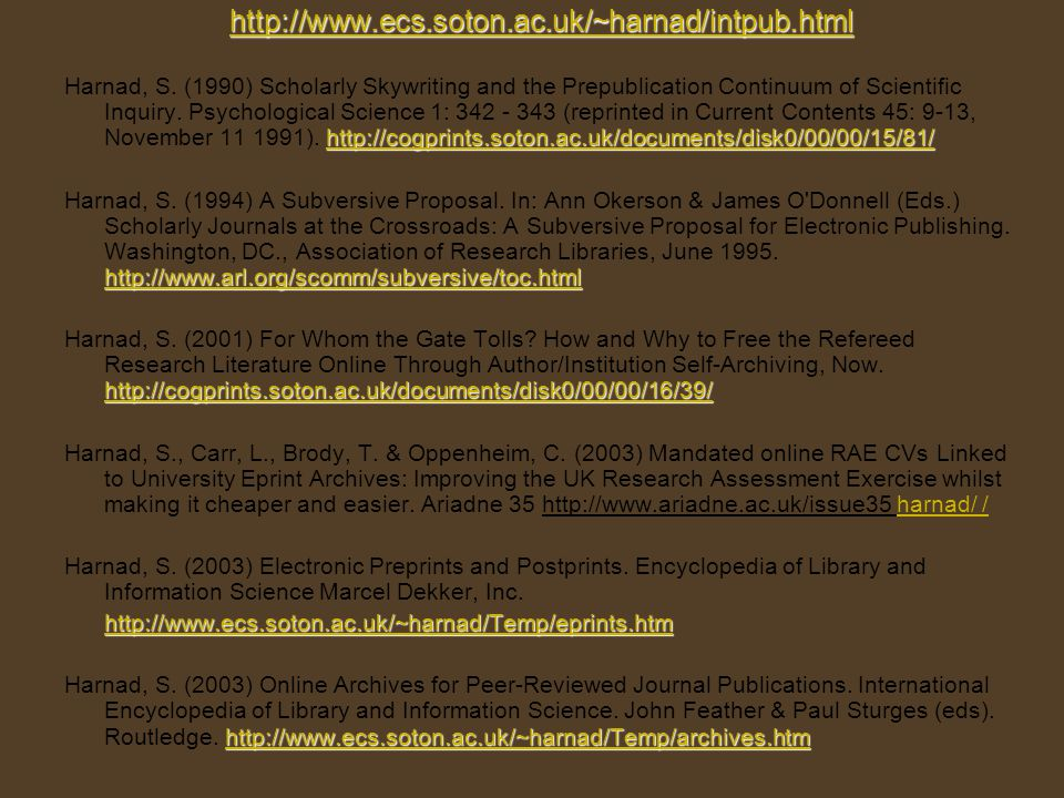 http://www.ecs.soton.ac.uk/~harnad/intpub.html http://cogprints.soton.ac.uk/documents/disk0/00/00/15/81/ http://cogprints.soton.ac.uk/documents/disk0/00/00/15/81/ Harnad, S.