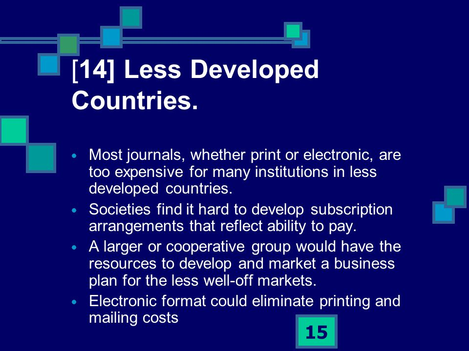 15 [14] Less Developed Countries.