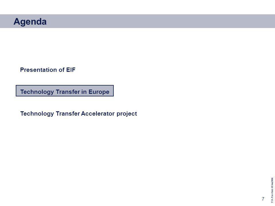 TTA-PresUniv-07Jun2004 7 Agenda Presentation of EIF Technology Transfer in Europe Technology Transfer Accelerator project