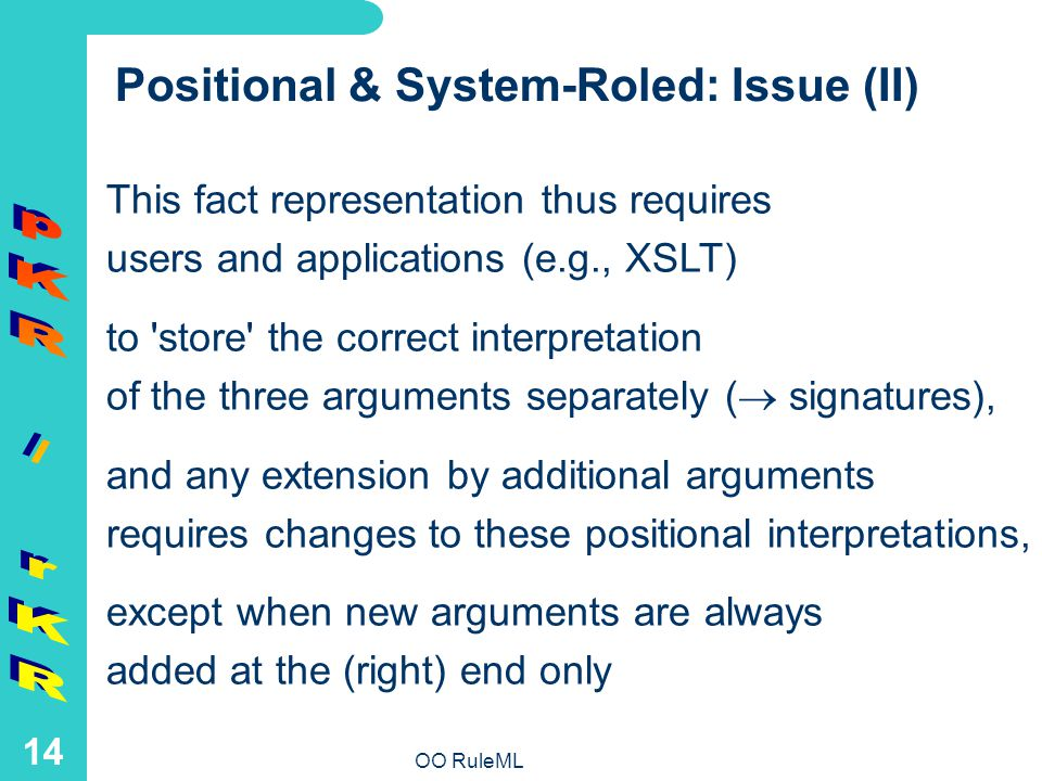OO RuleML 14 Positional & System-Roled: Issue (II) This fact representation thus requires users and applications (e.g., XSLT) to store the correct interpretation of the three arguments separately ( signatures), and any extension by additional arguments requires changes to these positional interpretations, except when new arguments are always added at the (right) end only