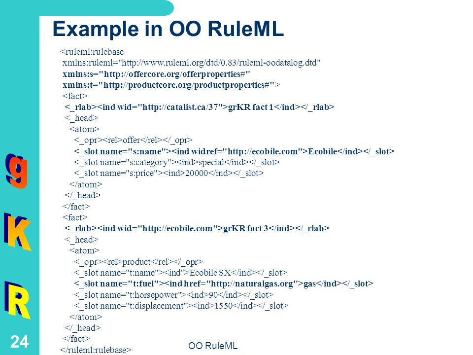 OO RuleML 24 Example in OO RuleML <ruleml:rulebase xmlns:ruleml= http://www.ruleml.org/dtd/0.83/ruleml-oodatalog.dtd xmlns:s= http://offercore.org/offerproperties# xmlns:t= http://productcore.org/productproperties# > grKR fact 1 offer Ecobile special 20000 grKR fact 3 product Ecobile SX gas 90 1550