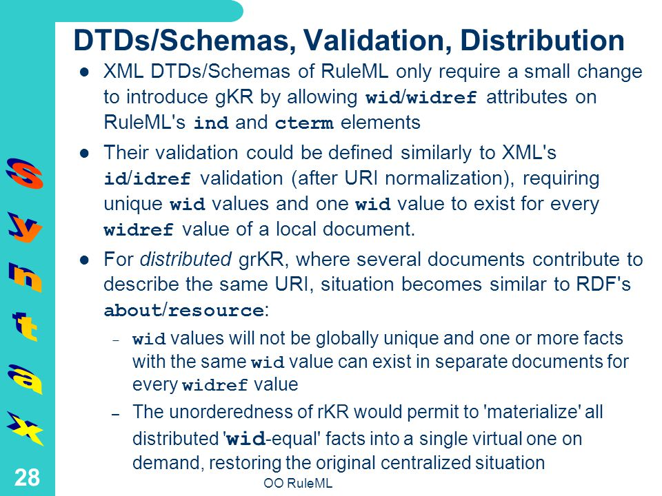 OO RuleML 28 DTDs/Schemas, Validation, Distribution XML DTDs/Schemas of RuleML only require a small change to introduce gKR by allowing wid / widref attributes on RuleML s ind and cterm elements Their validation could be defined similarly to XML s id / idref validation (after URI normalization), requiring unique wid values and one wid value to exist for every widref value of a local document.