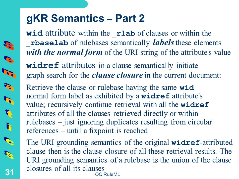 OO RuleML 31 gKR Semantics – Part 2 wid attribute within the _ rlab of clauses or within the _ rbaselab of rulebases semantically labels these elements with the normal form of the URI string of the attribute s value widref attributes in a clause semantically initiate graph search for the clause closure in the current document: Retrieve the clause or rulebase having the same wid normal form label as exhibited by a widref attribute s value; recursively continue retrieval with all the widref attributes of all the clauses retrieved directly or within rulebases – just ignoring duplicates resulting from circular references – until a fixpoint is reached The URI grounding semantics of the original widref -attributed clause then is the clause closure of all these retrieval results.