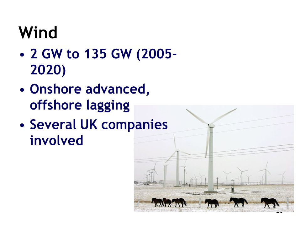 23 Wind 2 GW to 135 GW (2005- 2020) Onshore advanced, offshore lagging Several UK companies involved