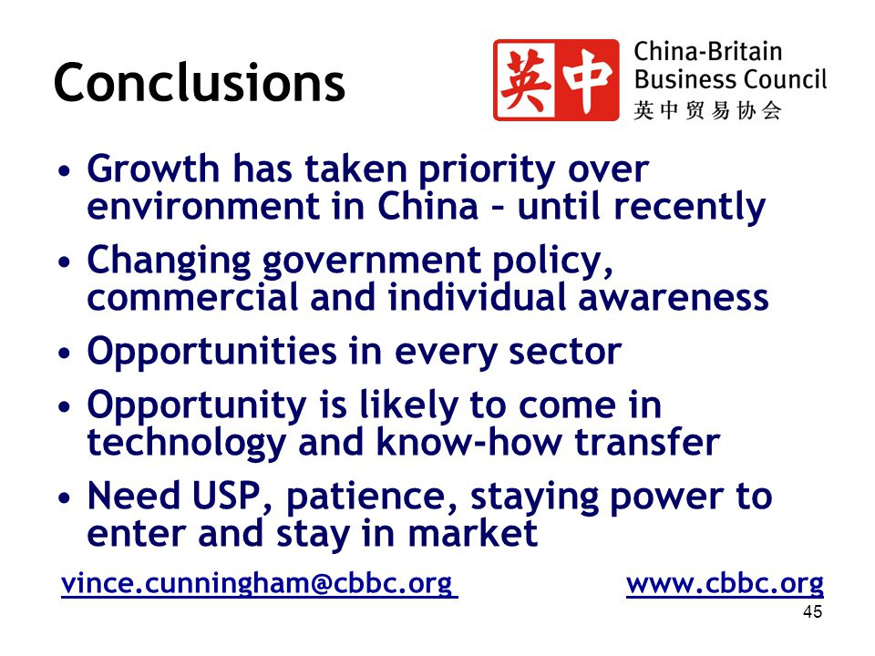 45 Conclusions Growth has taken priority over environment in China – until recently Changing government policy, commercial and individual awareness Op