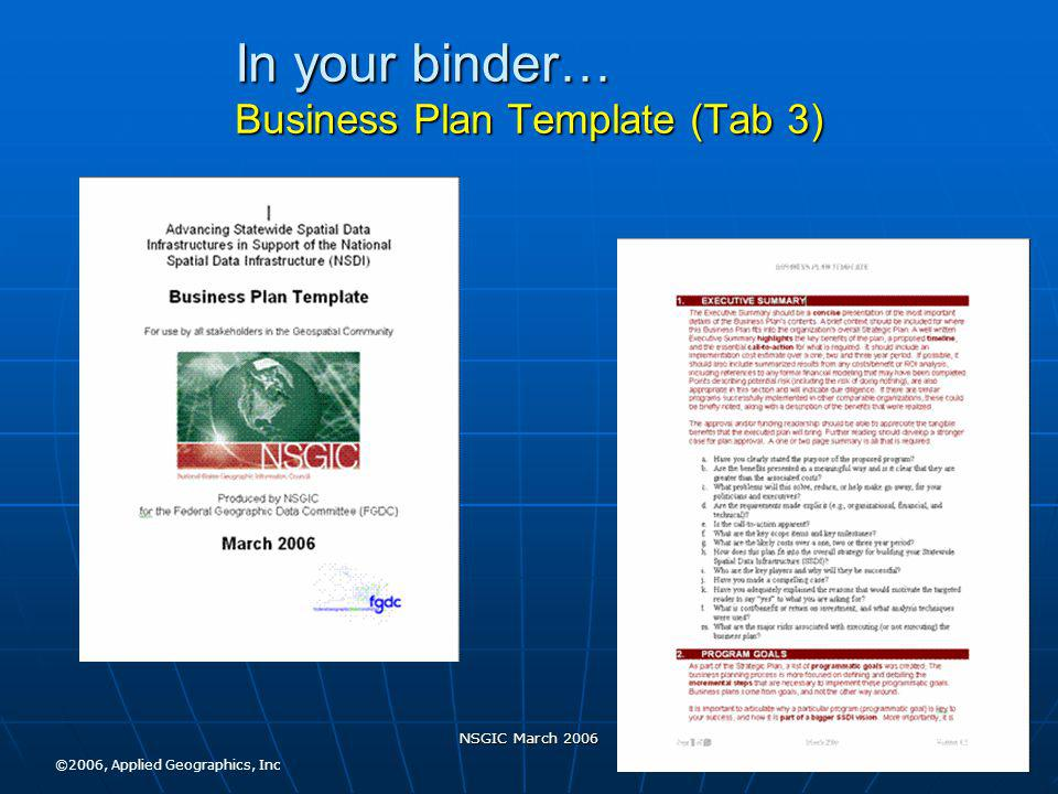 NSGIC March 2006 In your binder… Business Plan Template (Tab 3) ©2006, Applied Geographics, Inc