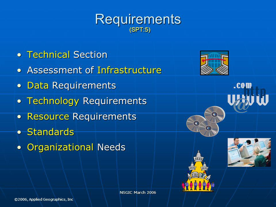 NSGIC March 2006 Requirements (SPT:5) Technical SectionTechnical Section Assessment of InfrastructureAssessment of Infrastructure Data RequirementsData Requirements Technology RequirementsTechnology Requirements Resource RequirementsResource Requirements StandardsStandards Organizational NeedsOrganizational Needs ©2006, Applied Geographics, Inc