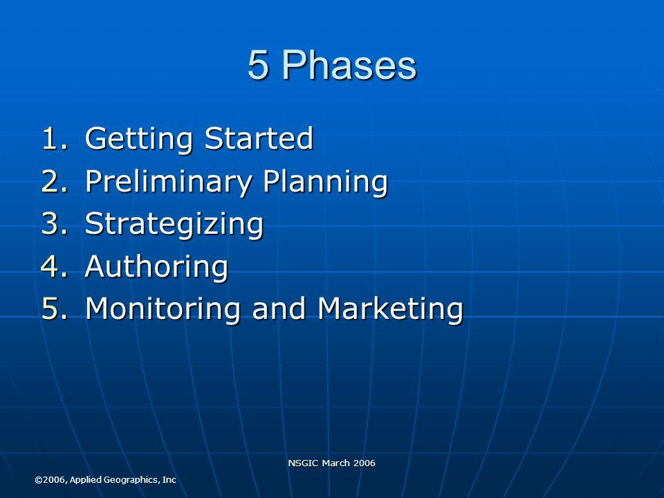 NSGIC March 2006 5 Phases 1.Getting Started 2.Preliminary Planning 3.Strategizing 4.Authoring 5.Monitoring and Marketing ©2006, Applied Geographics, Inc