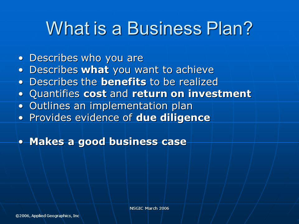 NSGIC March 2006 What is a Business Plan.