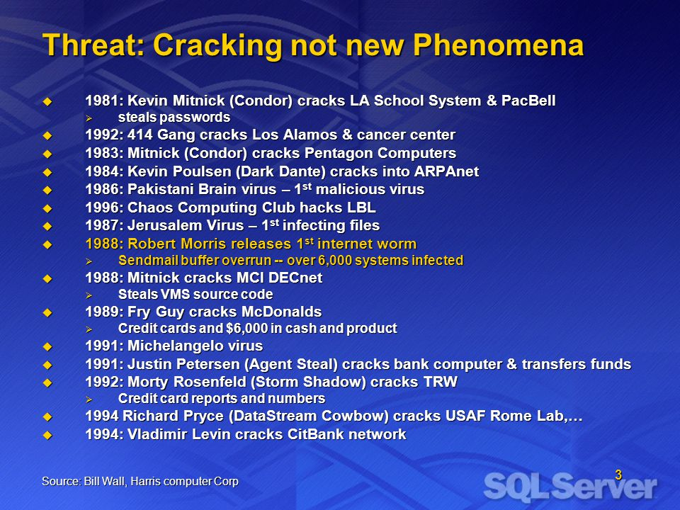 3 Threat: Cracking not new Phenomena 1981: Kevin Mitnick (Condor) cracks LA School System & PacBell 1981: Kevin Mitnick (Condor) cracks LA School Syst