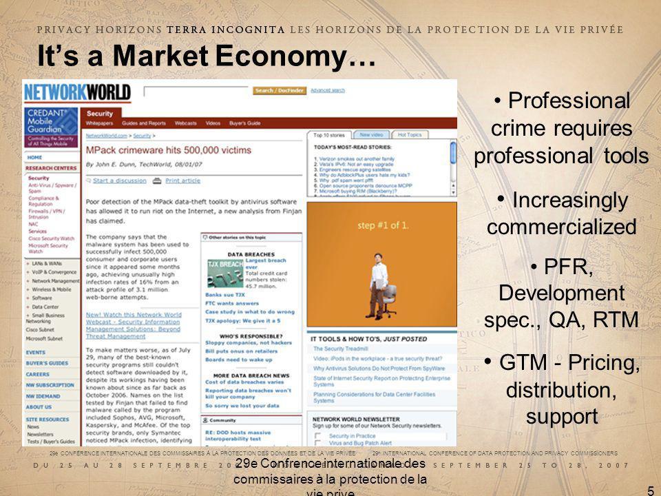 29e CONFÉRENCE INTERNATIONALE DES COMMISSAIRES À LA PROTECTION DES DONNÉES ET DE LA VIE PRIVÉE 29 th INTERNATIONAL CONFERENCE OF DATA PROTECTION AND PRIVACY COMMISSIONERS 29e Confrence internationale des commissaires à la protection de la vie prive 5 Its a Market Economy… Professional crime requires professional tools Increasingly commercialized PFR, Development spec., QA, RTM GTM - Pricing, distribution, support