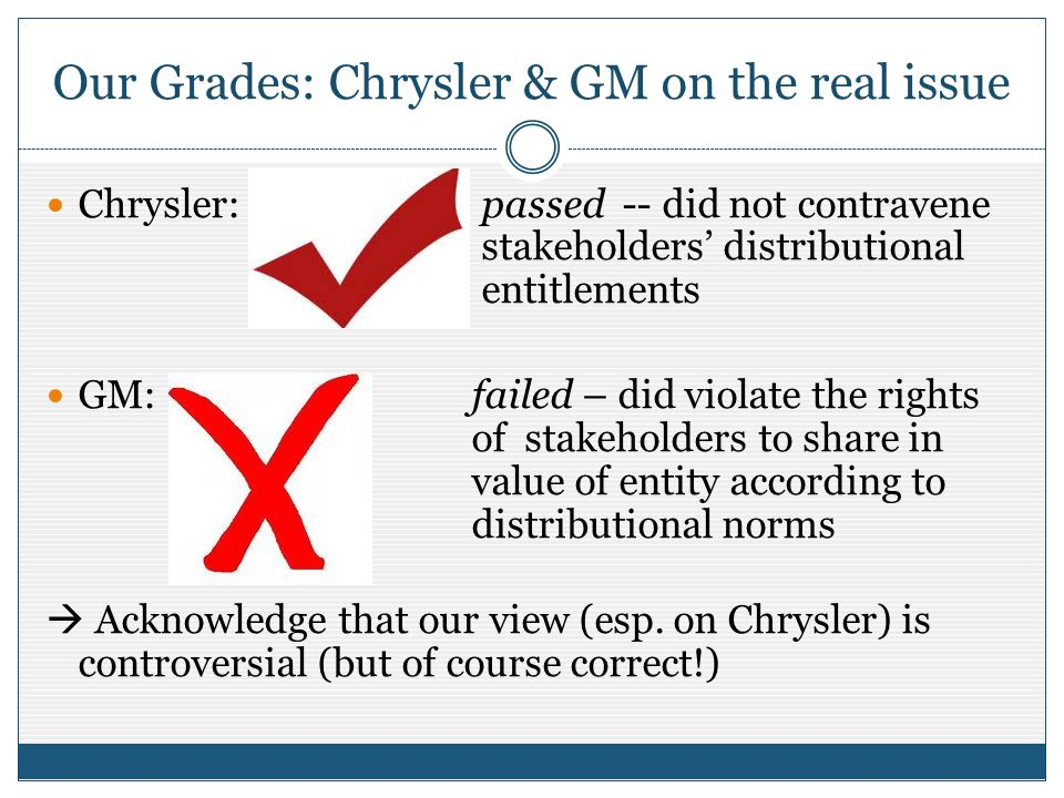 Our Grades: Chrysler & GM on the real issue Chrysler: passed -- did not contravene stakeholders distributional entitlements GM: failed – did violate t