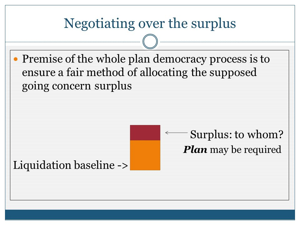 Negotiating over the surplus Premise of the whole plan democracy process is to ensure a fair method of allocating the supposed going concern surplus S