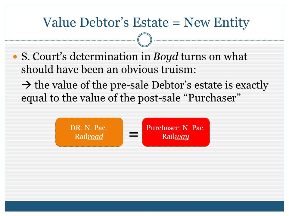 Value Debtors Estate = New Entity S.
