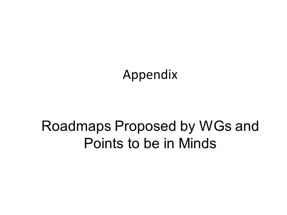 Appendix Roadmaps Proposed by WGs and Points to be in Minds