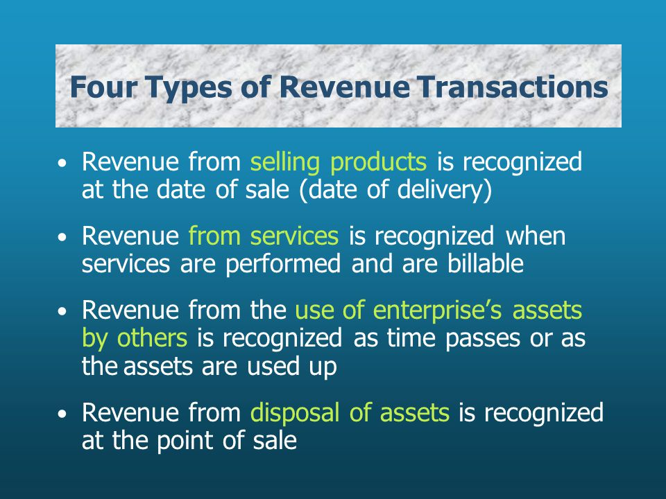 Four Types of Revenue Transactions Revenue from selling products is recognized at the date of sale (date of delivery) Revenue from services is recognized when services are performed and are billable Revenue from the use of enterprises assets by others is recognized as time passes or as theassets are used up Revenue from disposal of assets is recognized at the point of sale