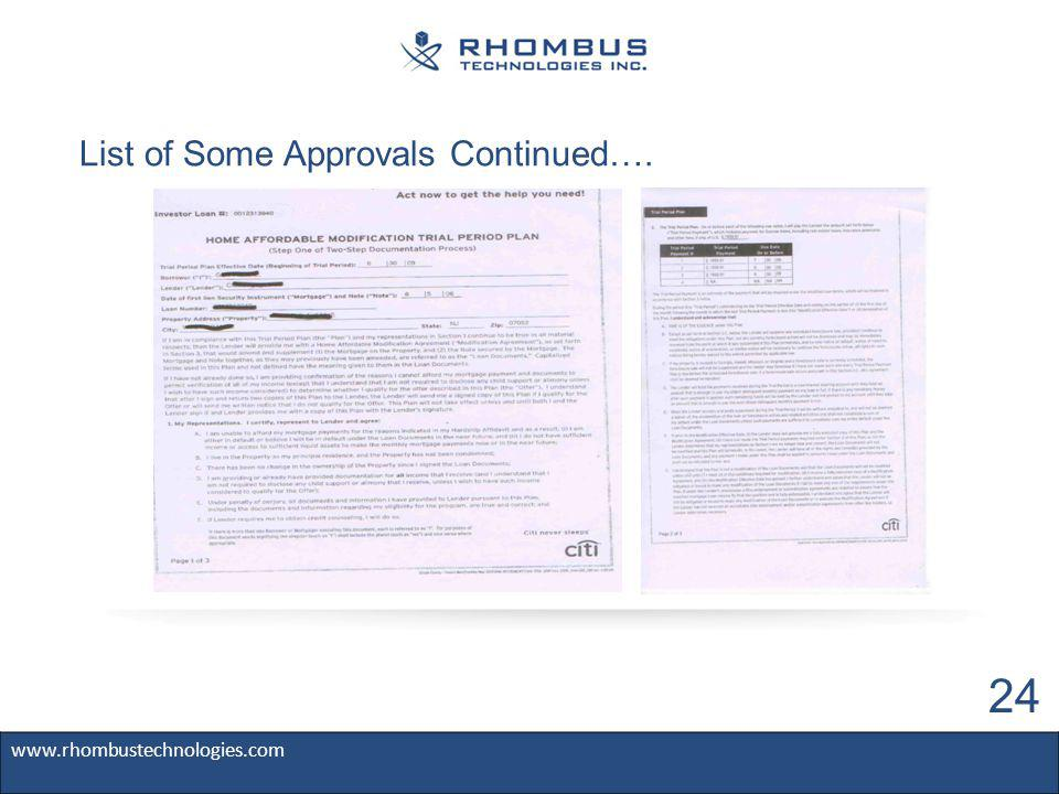 List of Some Approvals Continued…. www.rhombustechnologies.com 24