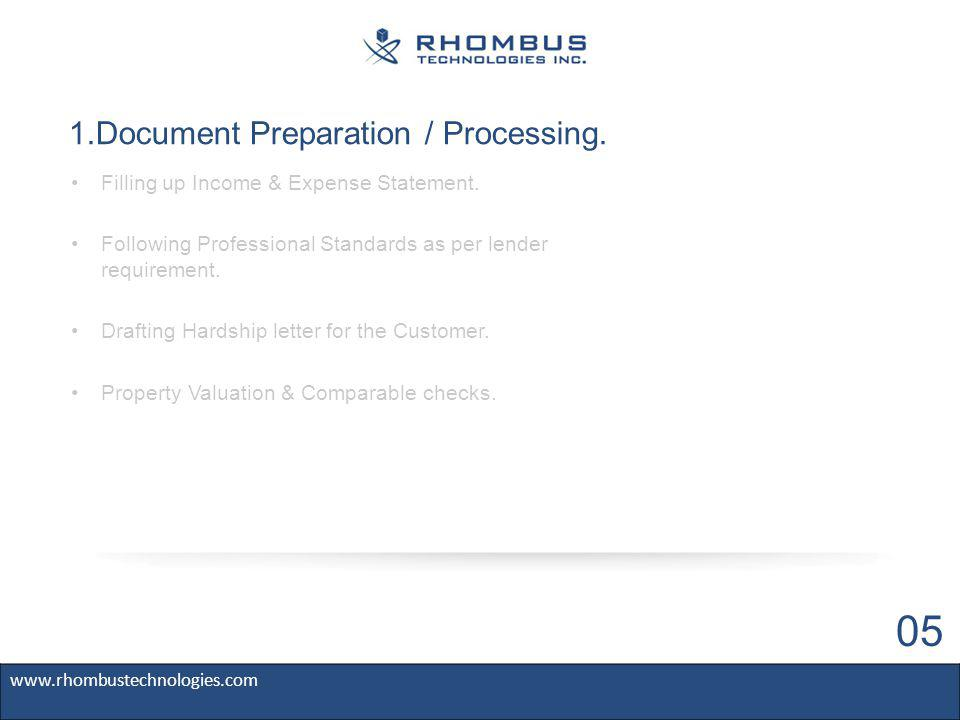 1.Document Preparation / Processing.Filling up Income & Expense Statement.