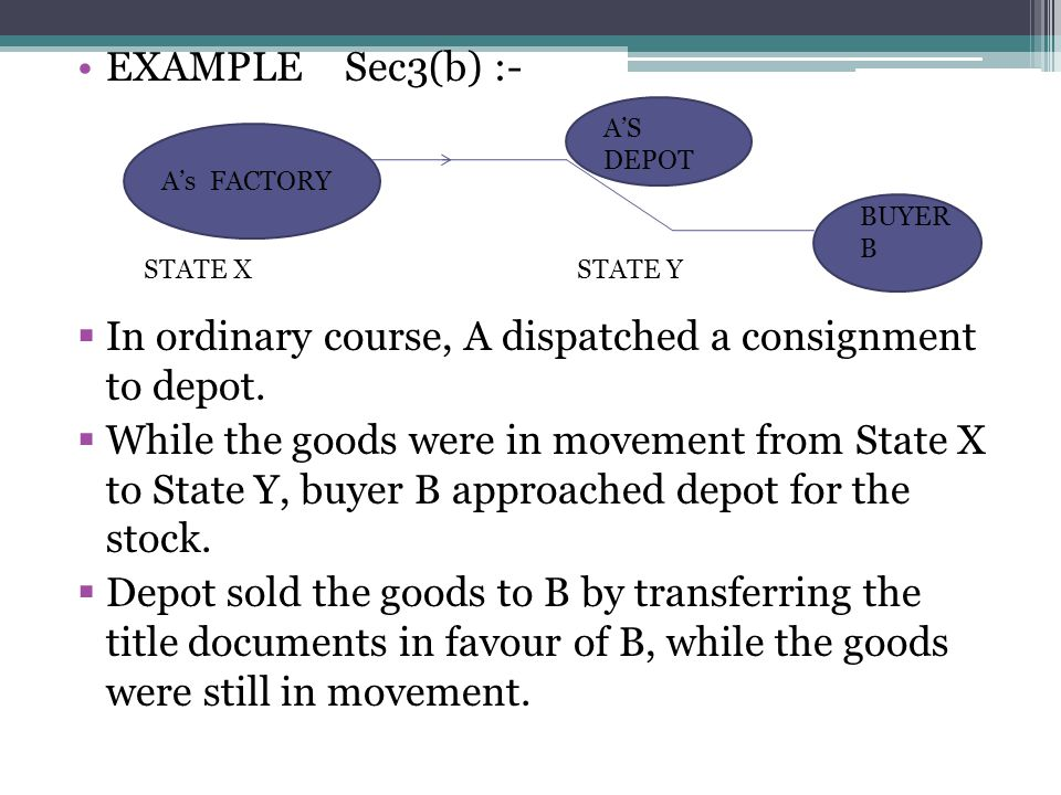 EXAMPLE Sec3(b) :- In ordinary course, A dispatched a consignment to depot. While the goods were in movement from State X to State Y, buyer B approach