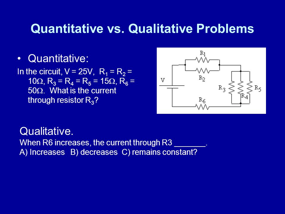 Quantitative vs. Qualitative Problems Quantitative: In the circuit, V = 25V, R 1 = R 2 = 10, R 3 = R 4 = R 5 = 15, R 6 = 50. What is the current throu
