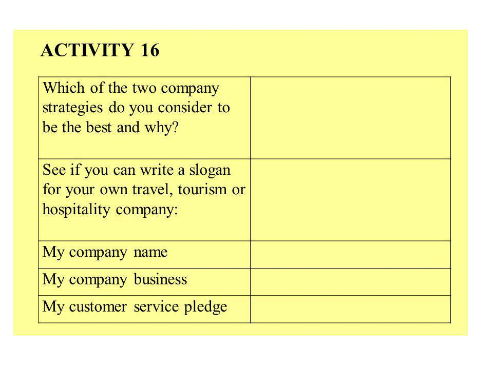 Which of the two company strategies do you consider to be the best and why? See if you can write a slogan for your own travel, tourism or hospitality