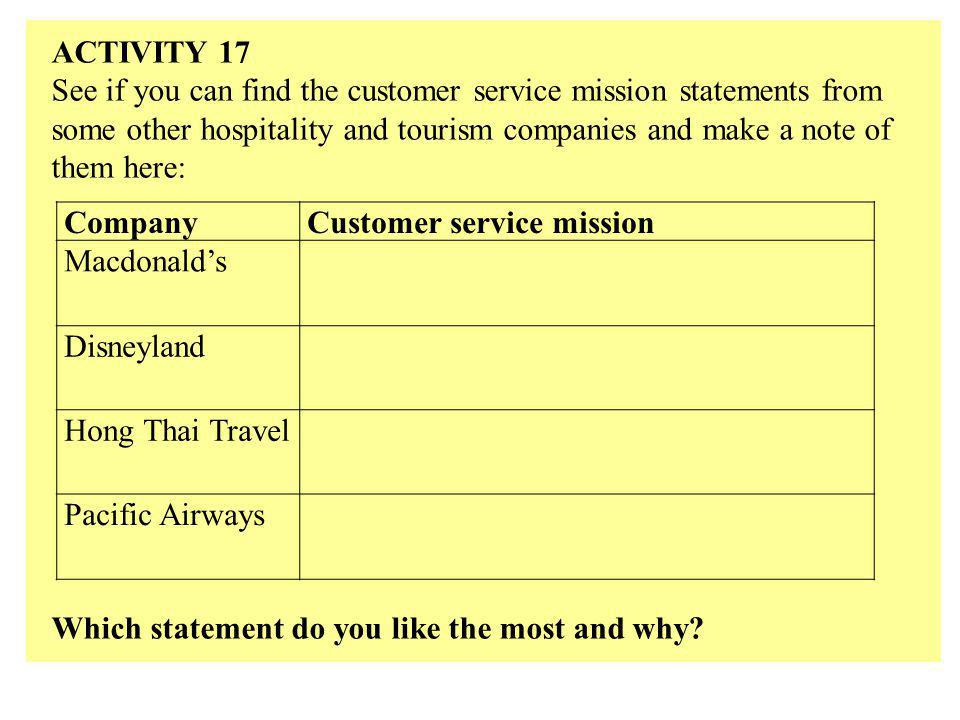 ACTIVITY 17 See if you can find the customer service mission statements from some other hospitality and tourism companies and make a note of them here