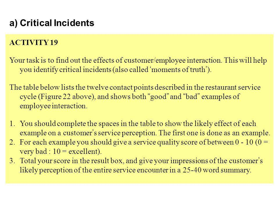 a)Critical Incidents ACTIVITY 19 Your task is to find out the effects of customer/employee interaction.