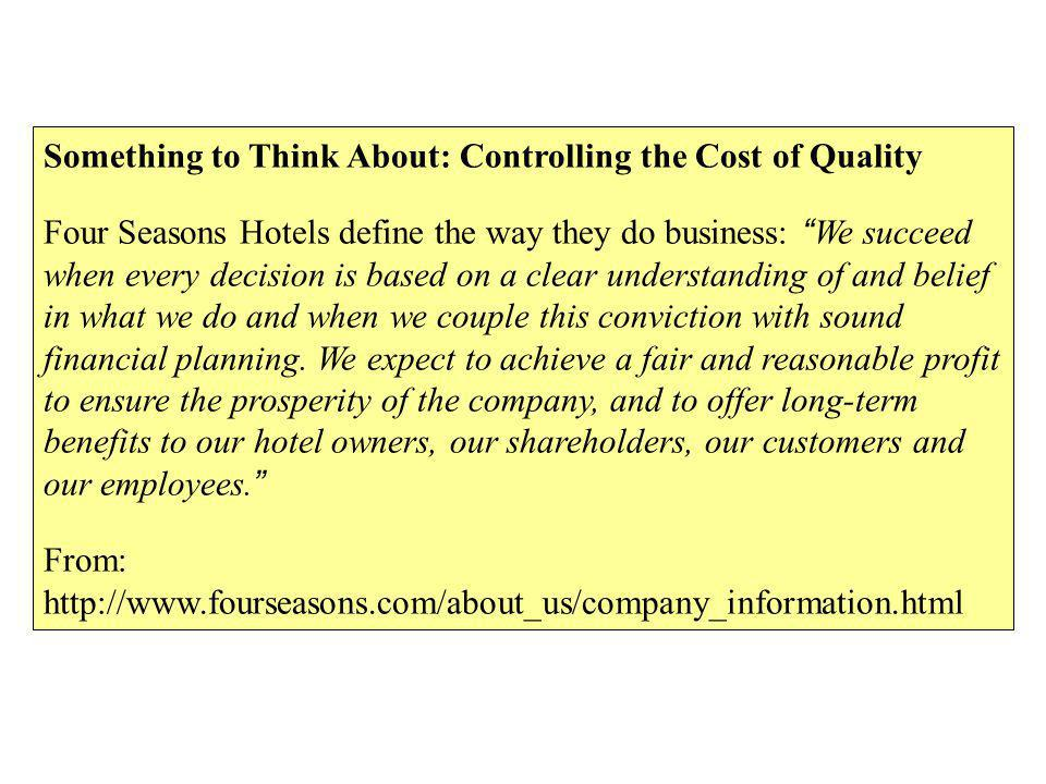 Something to Think About: Controlling the Cost of Quality Four Seasons Hotels define the way they do business: We succeed when every decision is based