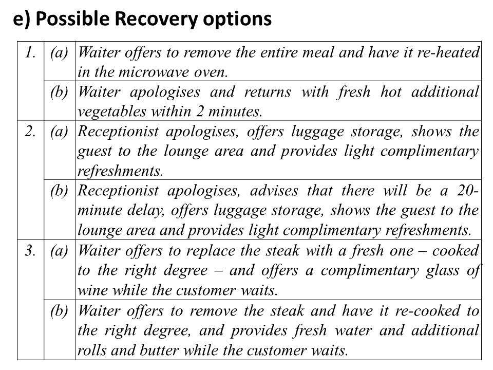 e) Possible Recovery options 1.(a)Waiter offers to remove the entire meal and have it re-heated in the microwave oven.