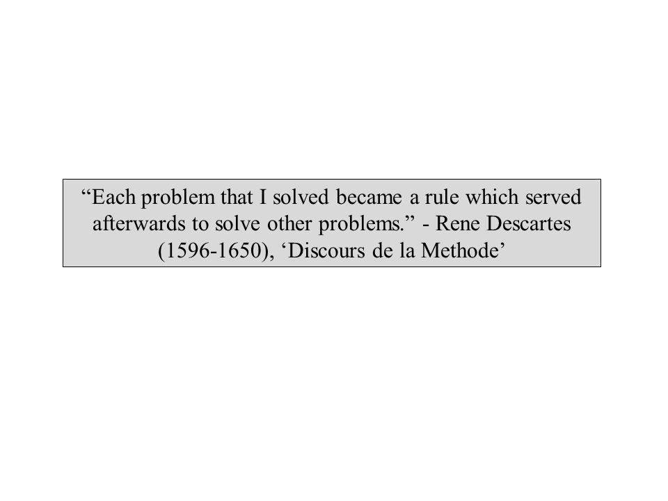 Each problem that I solved became a rule which served afterwards to solve other problems. - Rene Descartes (1596-1650), Discours de la Methode