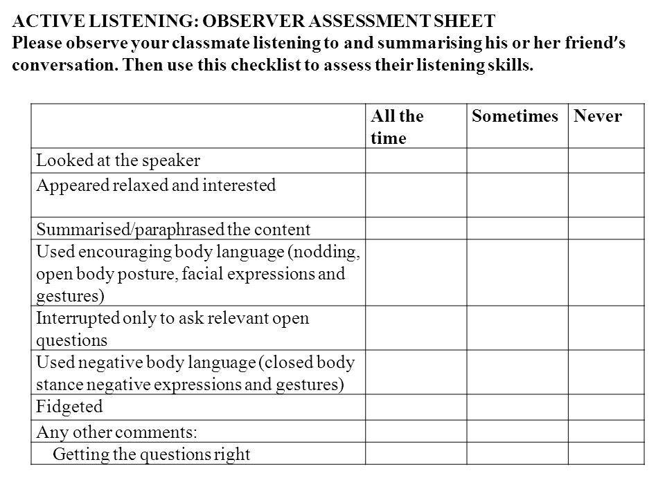 All the time SometimesNever Looked at the speaker Appeared relaxed and interested Summarised/paraphrased the content Used encouraging body language (nodding, open body posture, facial expressions and gestures) Interrupted only to ask relevant open questions Used negative body language (closed body stance negative expressions and gestures) Fidgeted Any other comments: Getting the questions right ACTIVE LISTENING: OBSERVER ASSESSMENT SHEET Please observe your classmate listening to and summarising his or her friend s conversation.