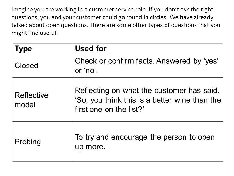 TypeUsed for Closed Check or confirm facts. Answered by yes or no. Reflective model Reflecting on what the customer has said. So, you think this is a