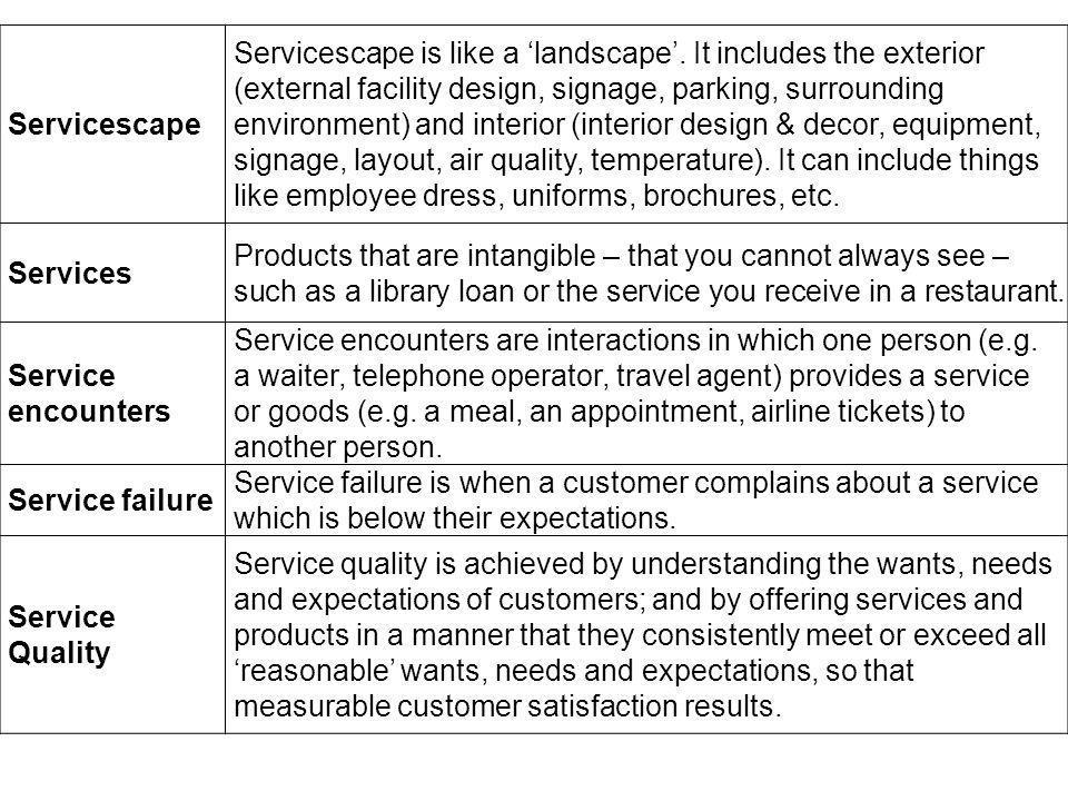 Servicescape Servicescape is like a landscape.
