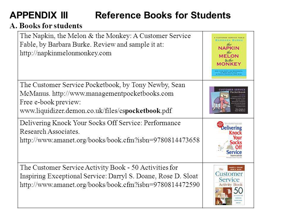 APPENDIX IIIReference Books for Students A.