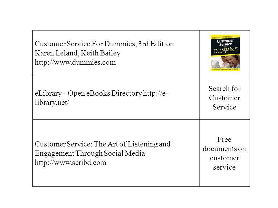 Customer Service For Dummies, 3rd Edition Karen Leland, Keith Bailey http://www.dummies.com eLibrary - Open eBooks Directory http://e- library.net/ Se