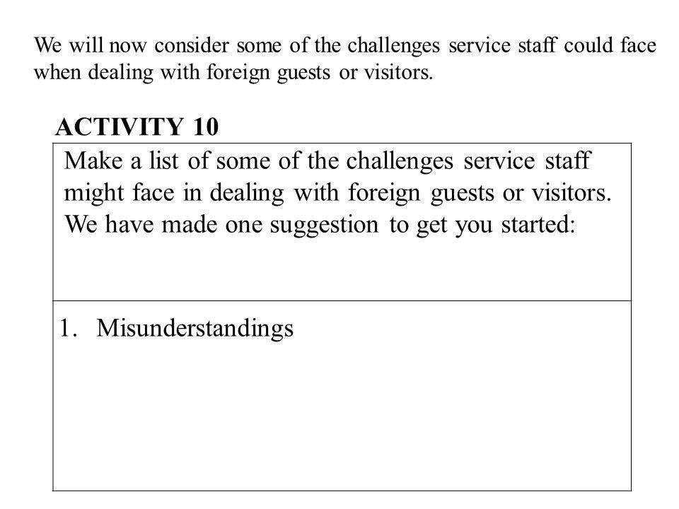 We will now consider some of the challenges service staff could face when dealing with foreign guests or visitors. Make a list of some of the challeng
