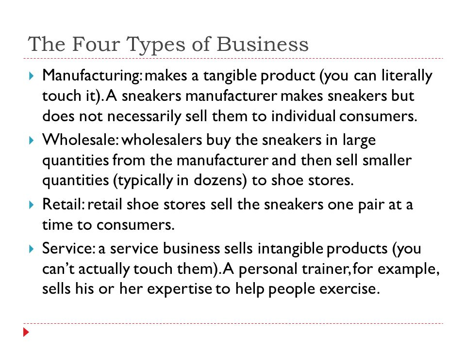 The Four Types of Business Manufacturing: makes a tangible product (you can literally touch it). A sneakers manufacturer makes sneakers but does not n