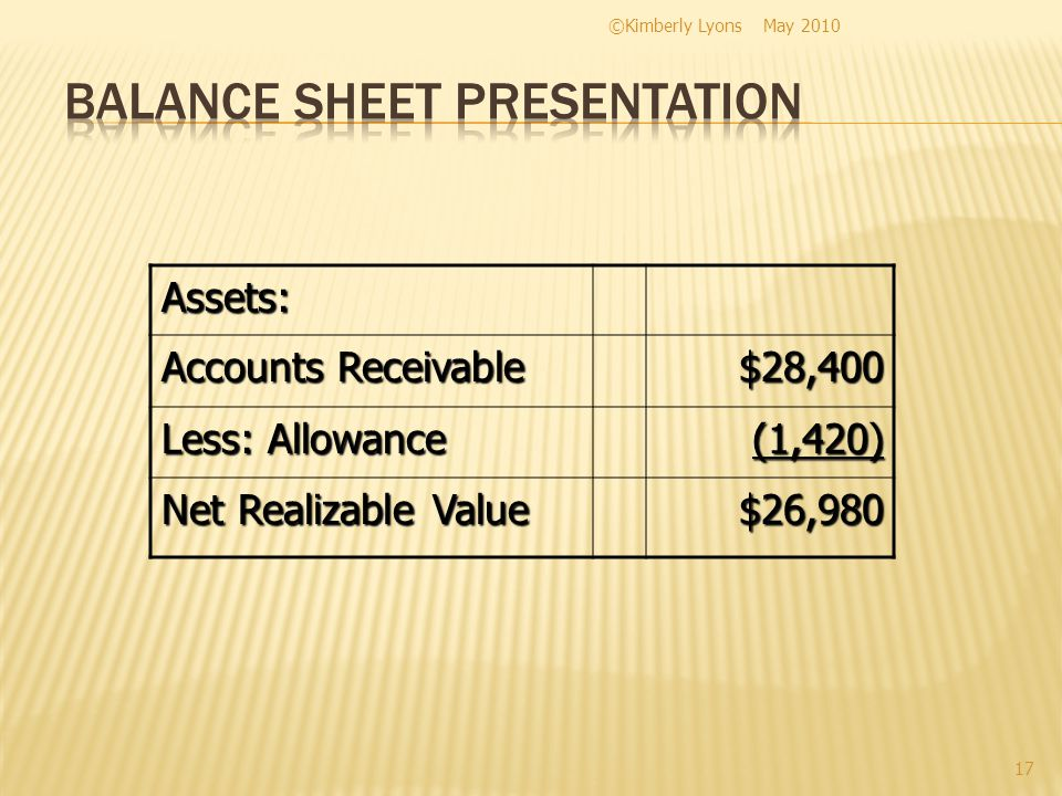 Assets: Accounts Receivable $28,400 Less: Allowance (1,420) Net Realizable Value $26,980 ©Kimberly Lyons 17 May 2010